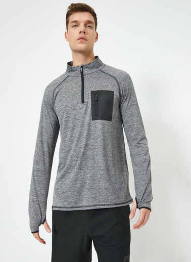 Koton Fermuar Detaylı Yüksek Yaka Cep Detaylı Sweatshirt Gri